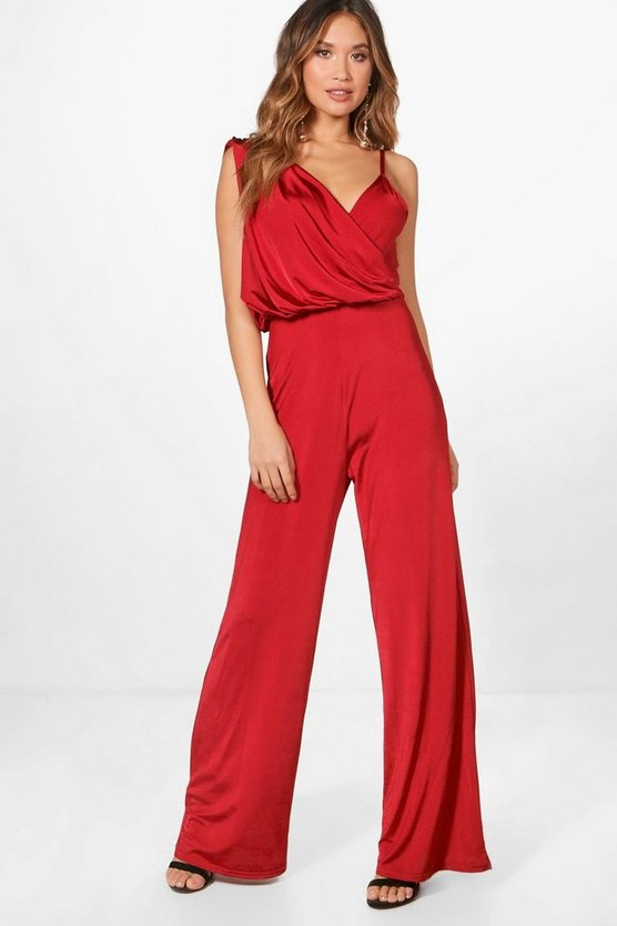 Freya Drape Asymmetric Shoulder Wide Leg Jumpsuit