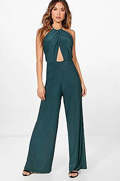 60s – 70s Pants, Jeans, Hippie, Bell Bottoms, Jumpsuits Halterneck Wide Leg Ruched Side Jumpsuit $42.00 AT vintagedancer.com