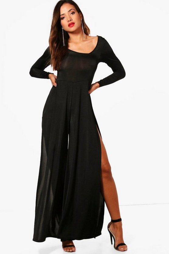 Asymmetric Square Neck Split Leg Jumpsuit