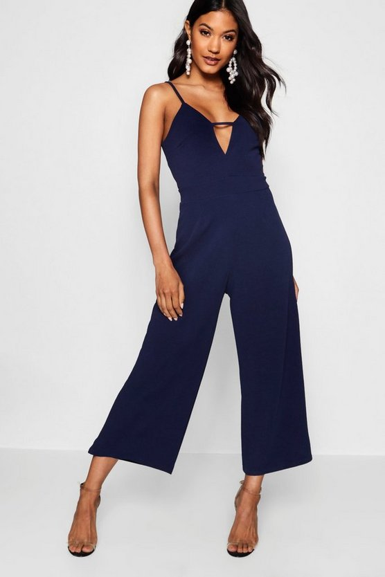 Womens Navy Caged Front Culotte Jumpsuit