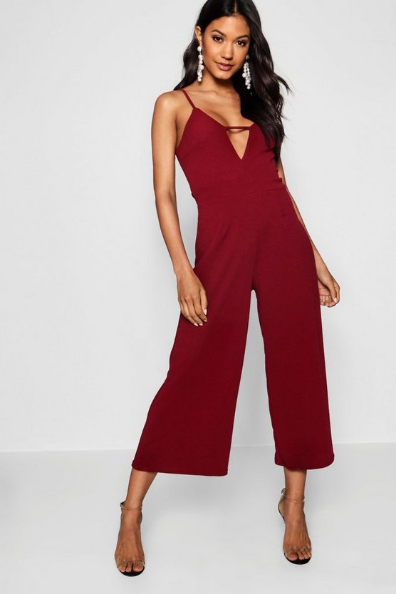 Wine Caged Front Culotte Jumpsuit