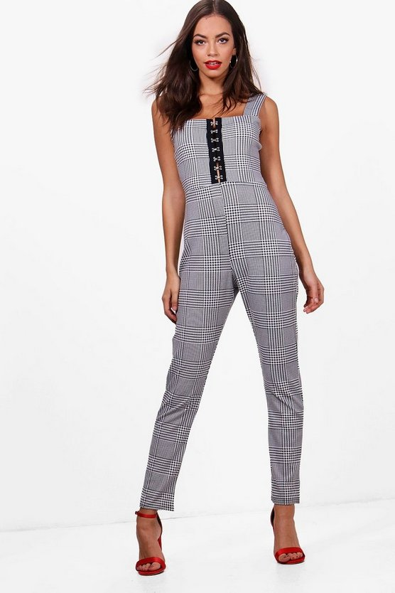 Womens Grey Jolie Checked Corset Detail Pinafore Style Jumpsuit