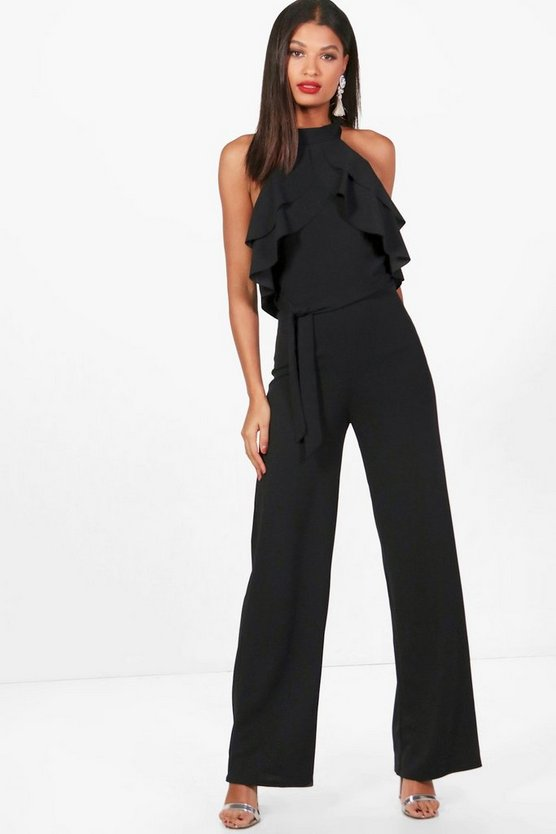 Womens Black Halterneck Ruffle Wide Leg Jumpsuit
