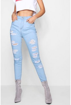 Womens Bleach wash High Rise Heavy Ripped Skinny Jeans