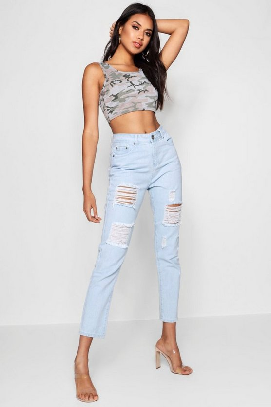 All Over Ripped 7/8th Jeans