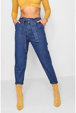 Paperbag Waist Mom Jeans, Mid blue, Donna