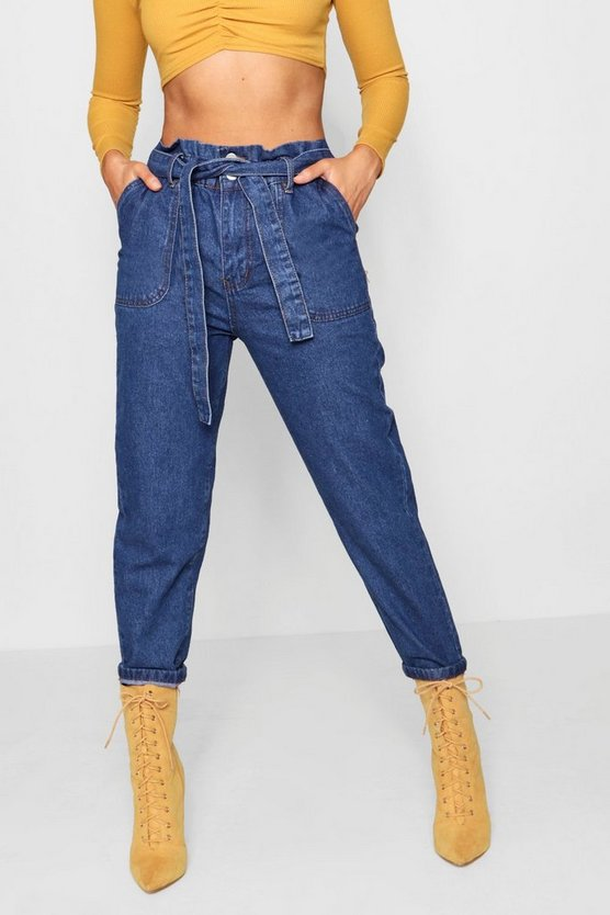 Womens Mid blue Paperbag Waist Mom Jeans