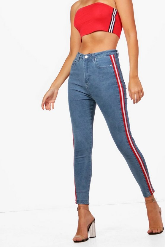 High Rise Sports Stripe Skinny Jeans