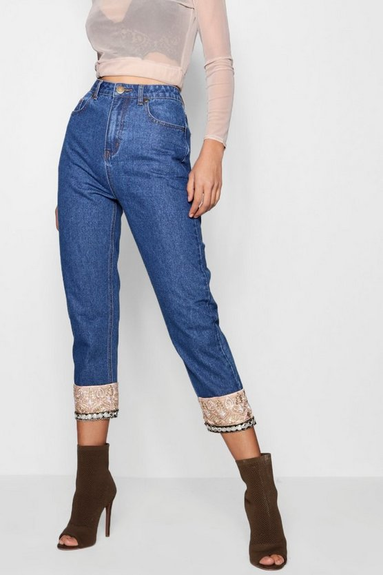 Womens Mid blue Tapestry Hem Straight Leg Jeans