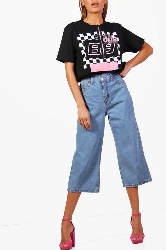 Scallop Waist Wide Leg Denim Culottes