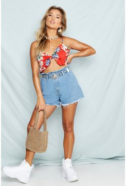 Womens Light blue Paperbag Waist Denim Mom Shorts