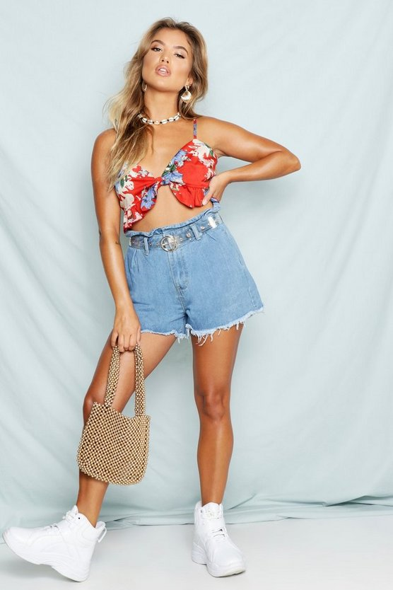 Paperbag Waist Denim Mom Shorts
