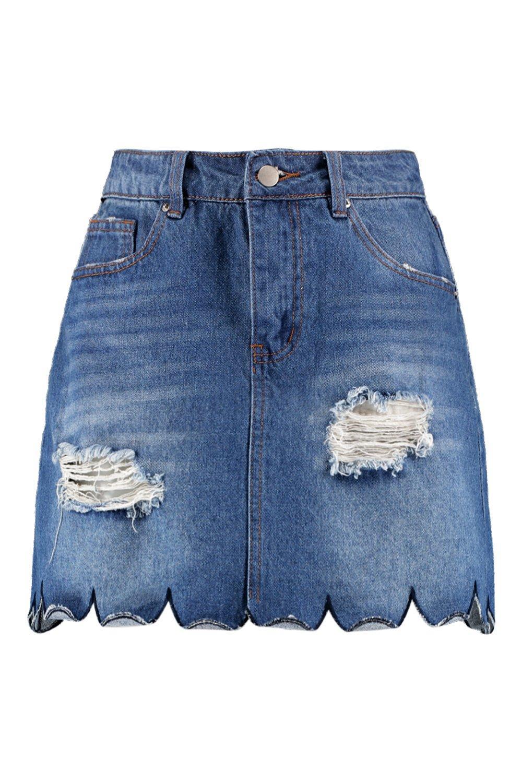 Skirt mid Scallop blue Hem Denim 0wwq1BS