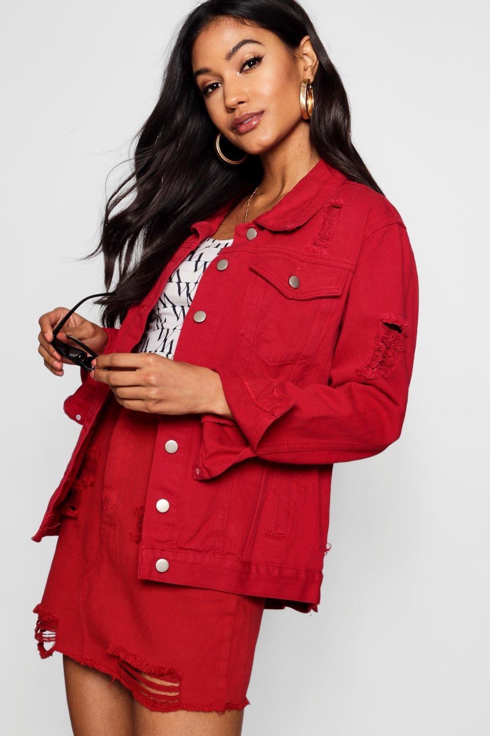red Oversize Denim Distressed Distressed Distressed Jacket red Oversize red Oversize Denim Jacket Denim Distressed Jacket gwTZpq