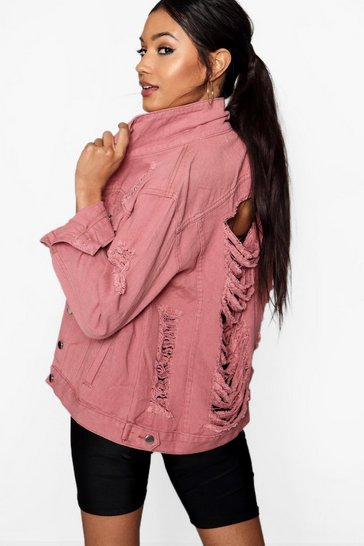 Dusky pink Distressed Oversize Denim Jacket