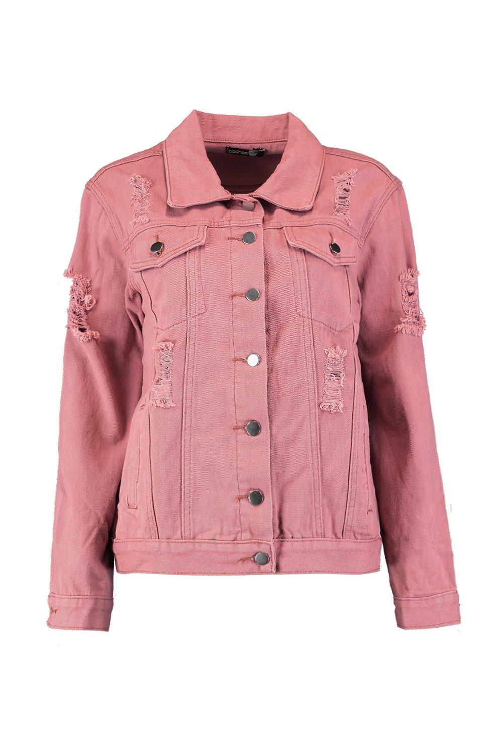 Distressed pink dusky Oversize Denim Jacket rzrPw