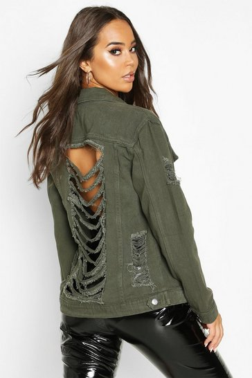 Womens Khaki Distressed Oversize Denim Jacket