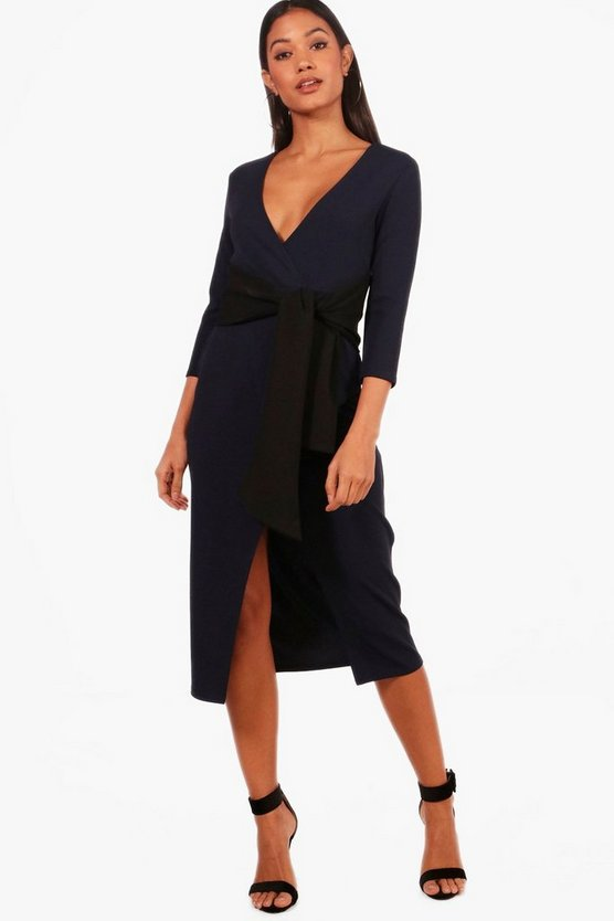 Contrast Tie Belt Midi Dress