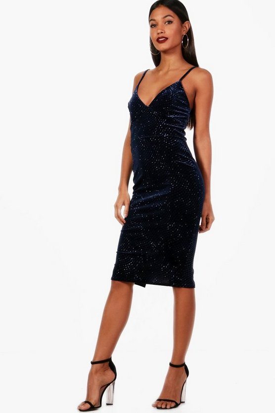 Womens Navy Glitter Print Velvet Strappy Midi Dress