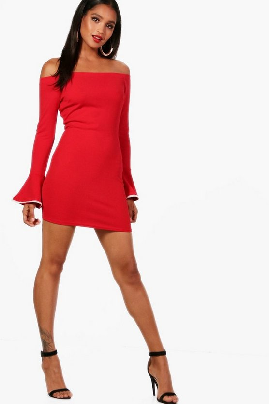 Bardot Pearl Trim Sleeve Bodycon Dress