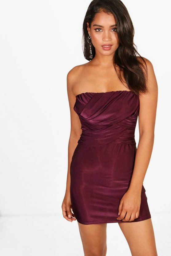 Slinky Bandeau Draped Bodycon Dress