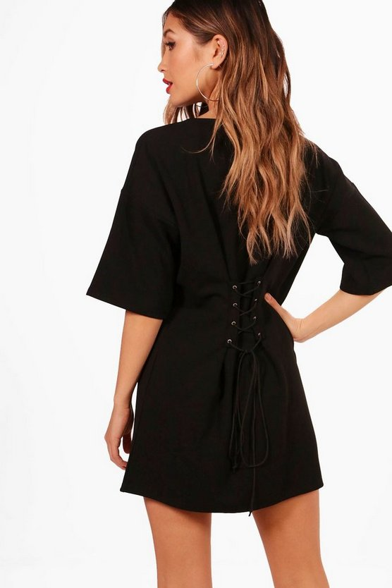 Corset Lace Up Back Shift Dress