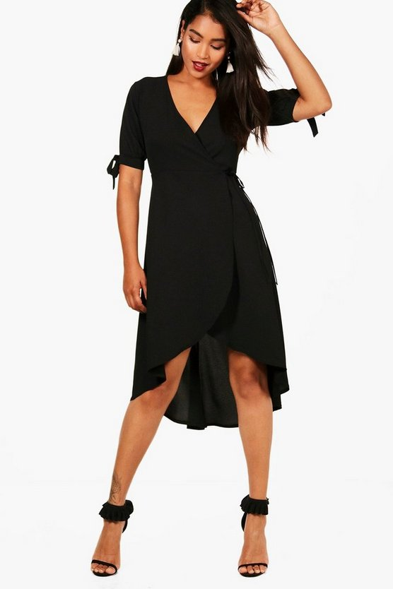 Womens Wrap Tie Detail Midi Skater Dress