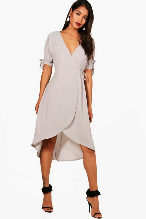 Wrap Tie Detail Midi Skater Dress