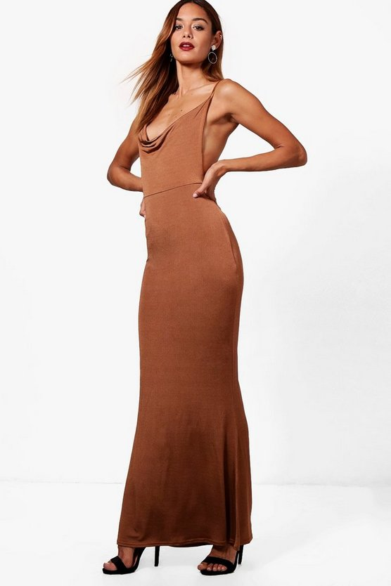 Strappy Ruched Back Maxi Dress
