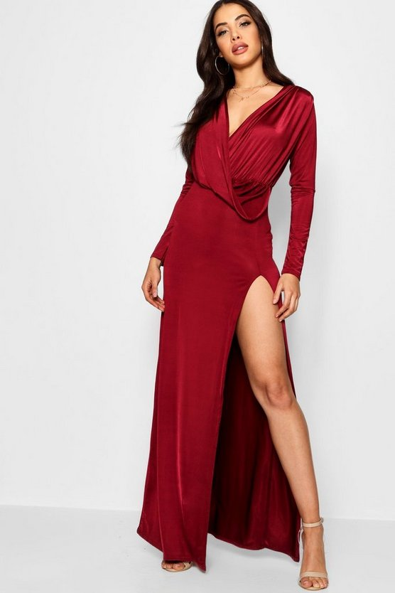 Womens Slinky Plunge Drape Maxi Dress
