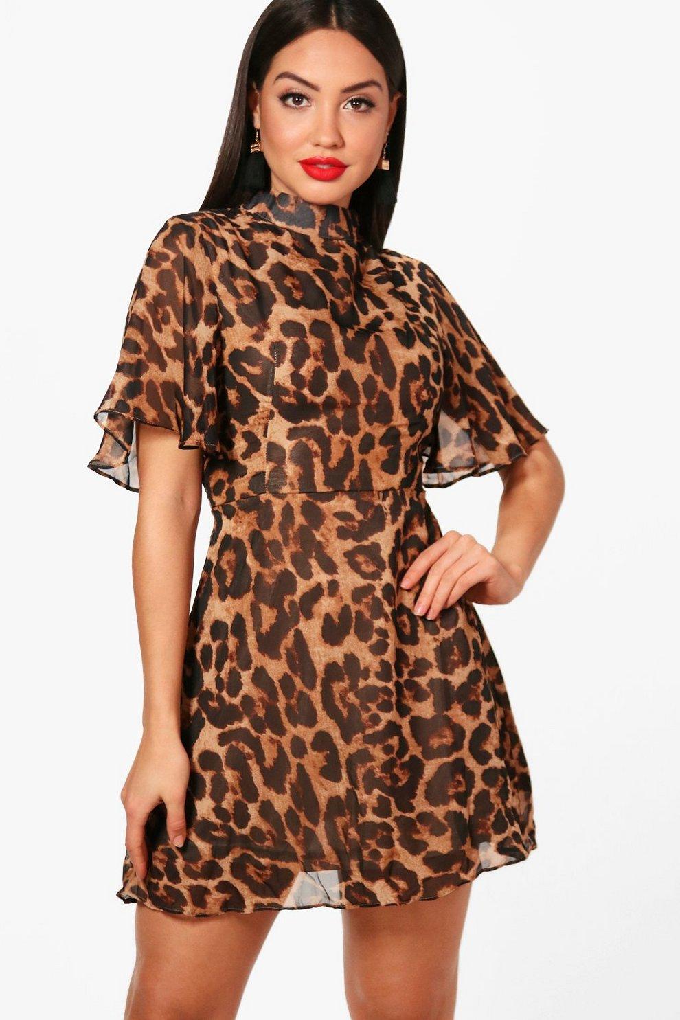 5d4b012dc3 Paula Leopard Print High Neck Skater Dress