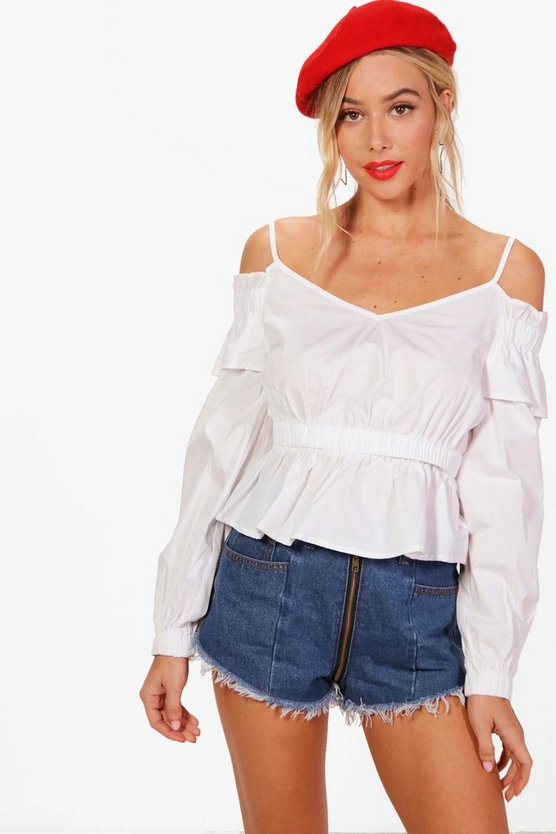 Woven Cold Shoulder Ruffle Crop