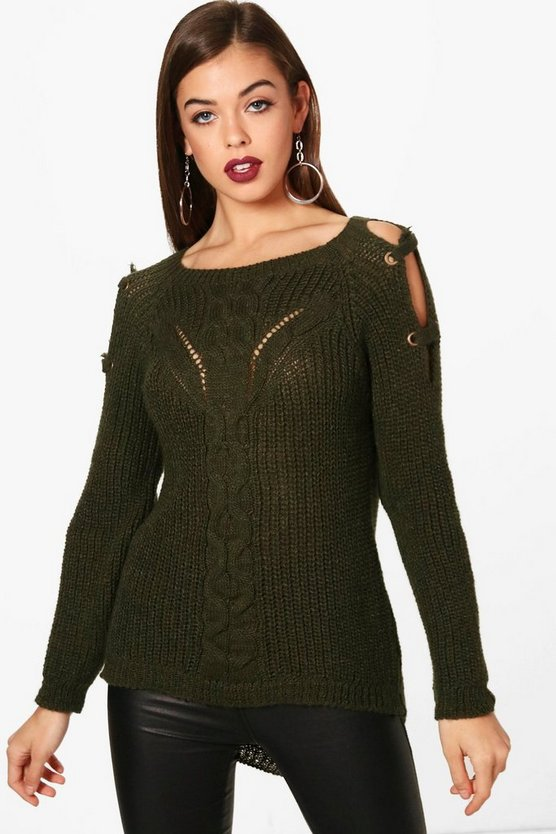 Evie Cable Knit Eyelet Shoulder Jumper