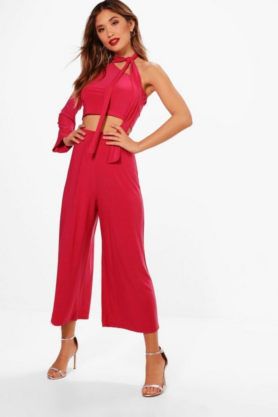 One Sleeve Crop and Wide Leg Trouser Set