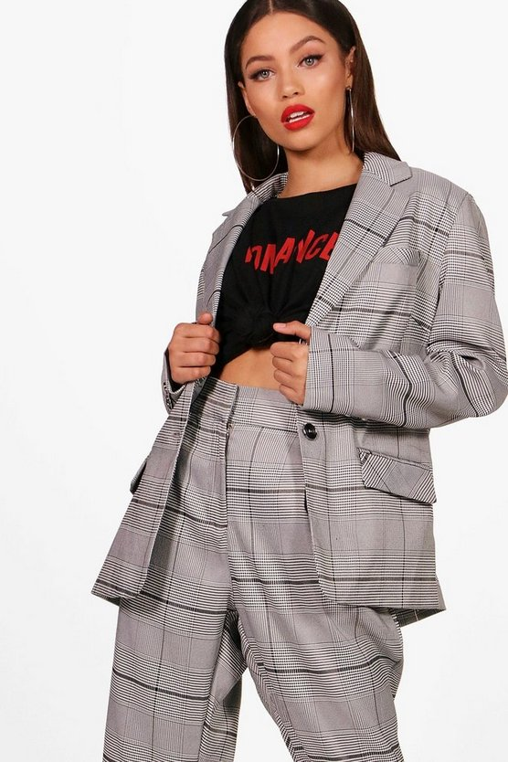 Womens Grey Prince Of Wales Check Blazer