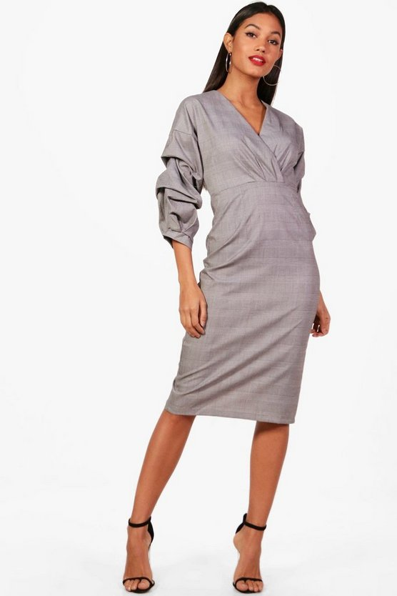 Check Midi Dress With Ruched Sleeves
