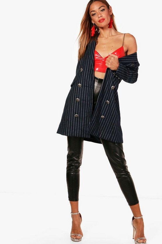 Double Breasted Pin Stripe Wool Jacket