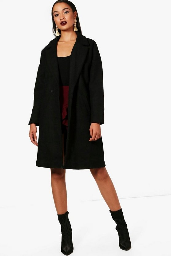 Black Daniella Wool Look Coat