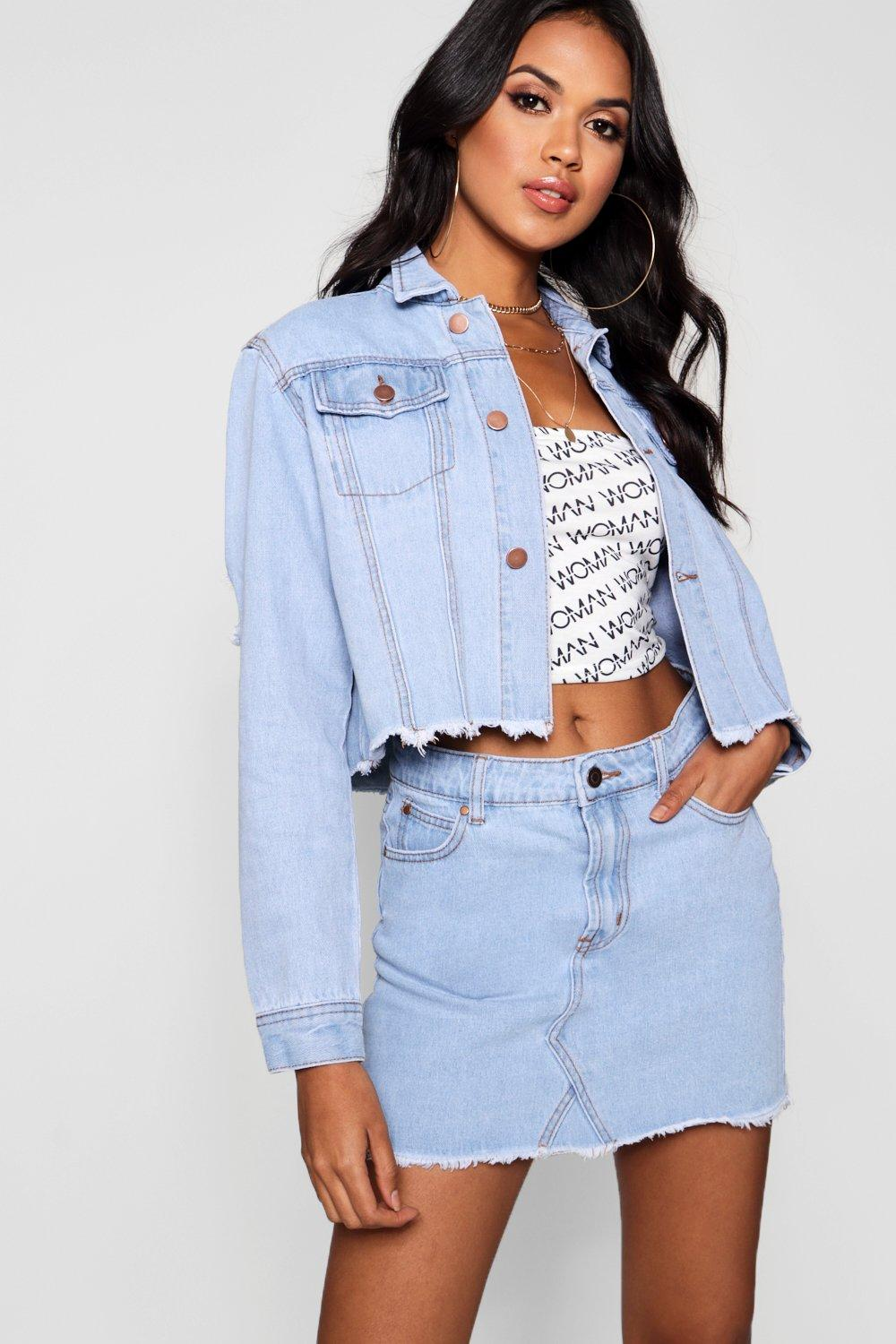 light Jacket Denim Trucker blue Cropped nORPBqAw