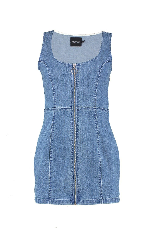Front mid Denim Bodycon Dress Zip blue 6wYqFPx