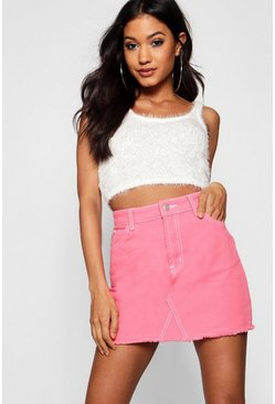 Contrast Stitch Denim Mini Skirt, Pink, MUJER
