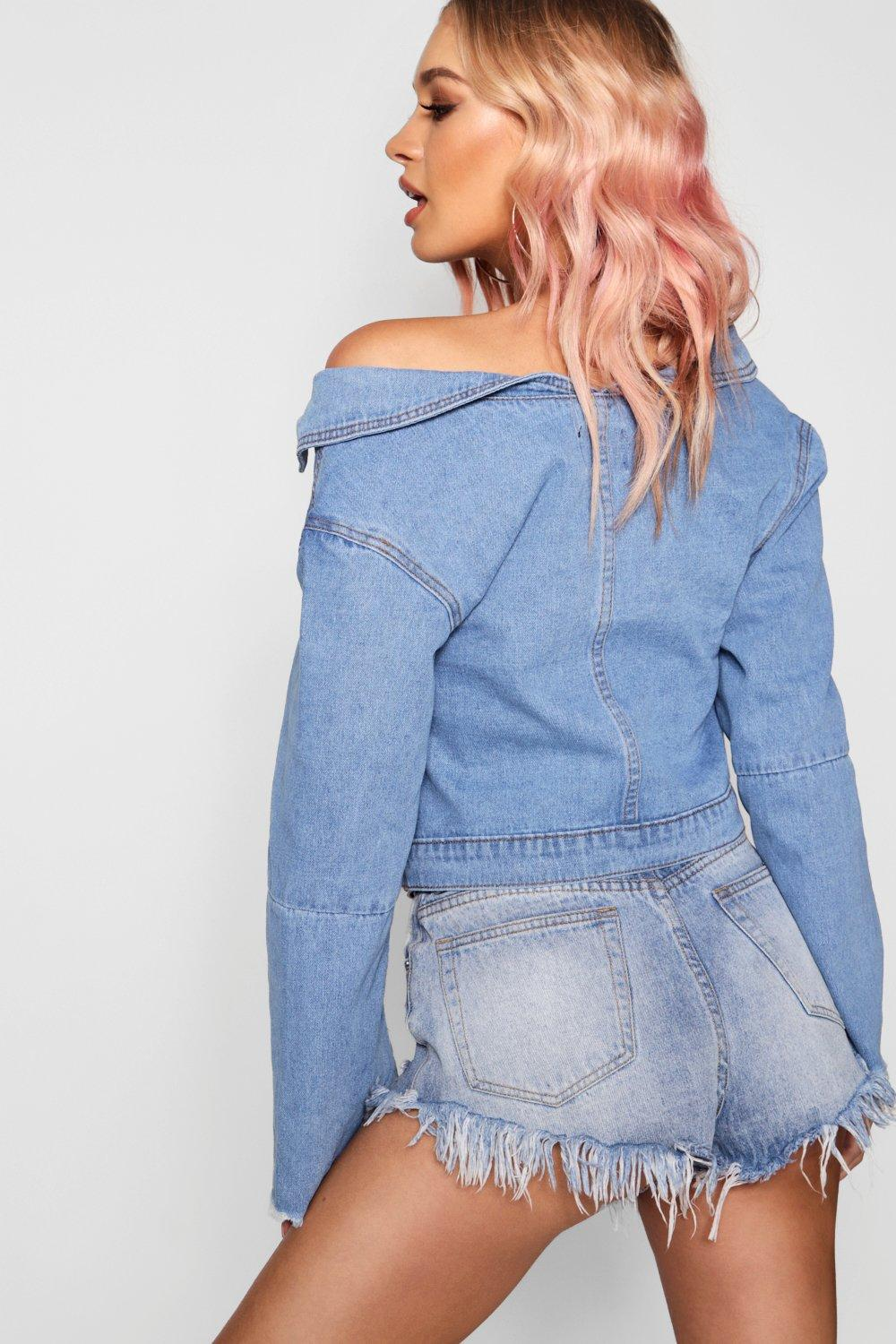 Jacket Denim Shoulder Off mid blue The HqAnBwxEt