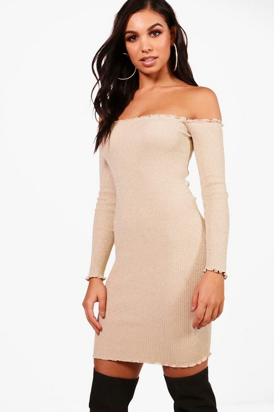 Metallic Rib Knit Ruffle Bardot Dress