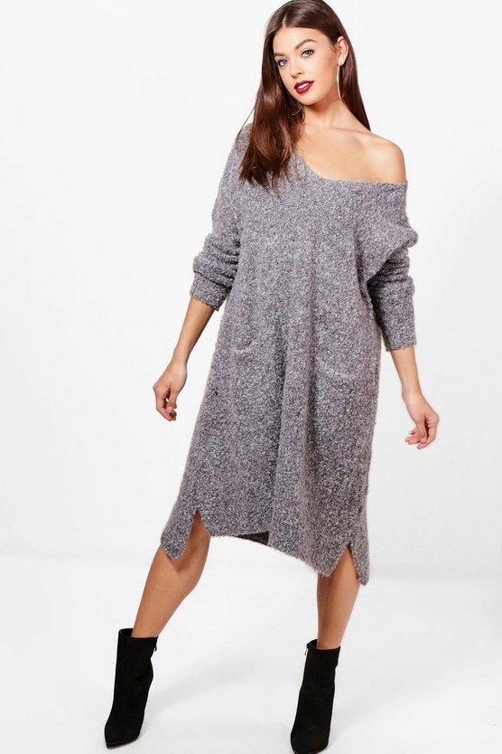 Bella Oversized V-Neck Slouchy Boucle Jumper Dress