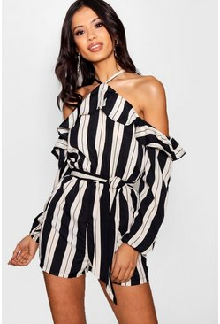 Womens Black Stripes Ruffle Cold Shoulder Playsuit