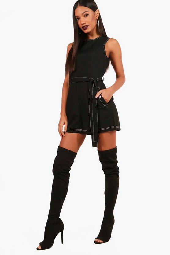 Contrast Stitching Tie Belt Smart Playsuit
