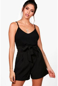 Smart Tailored Turn Up Shorts, Black, Donna