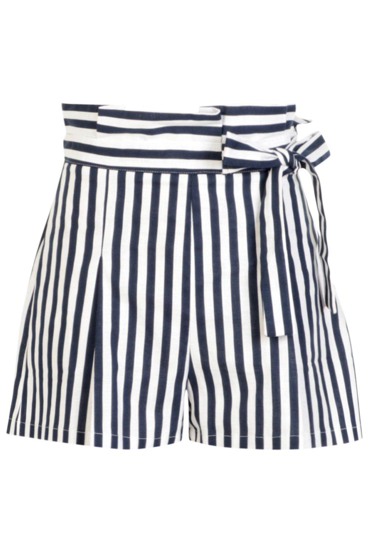 con cortos alta con nudo marino cinturón Azul Pantalones cintura con rayas a Tabitha Rq6fnwZ4