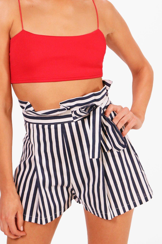 cortos marino con cintura nudo alta con a Tabitha Pantalones Azul con cinturón rayas qa4dfq
