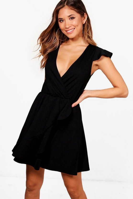 Wrap Frill Detail Skater Dress